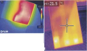 ・太陽光パネルの発電効率低下箇所の発見に!