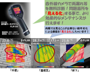 雨漏れ診断の他に、太陽光パネルの発電状況チェック、サッシ周り等の断熱診断・床暖房温度チェック等も出来ます! ぜひ一度お試し下さい!